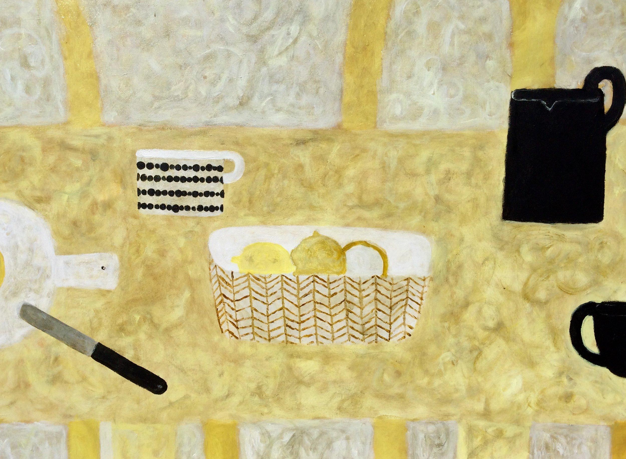 Title: Three Lemons, Circle Mug Size: 60 x 80 cm Medium: Oil on board