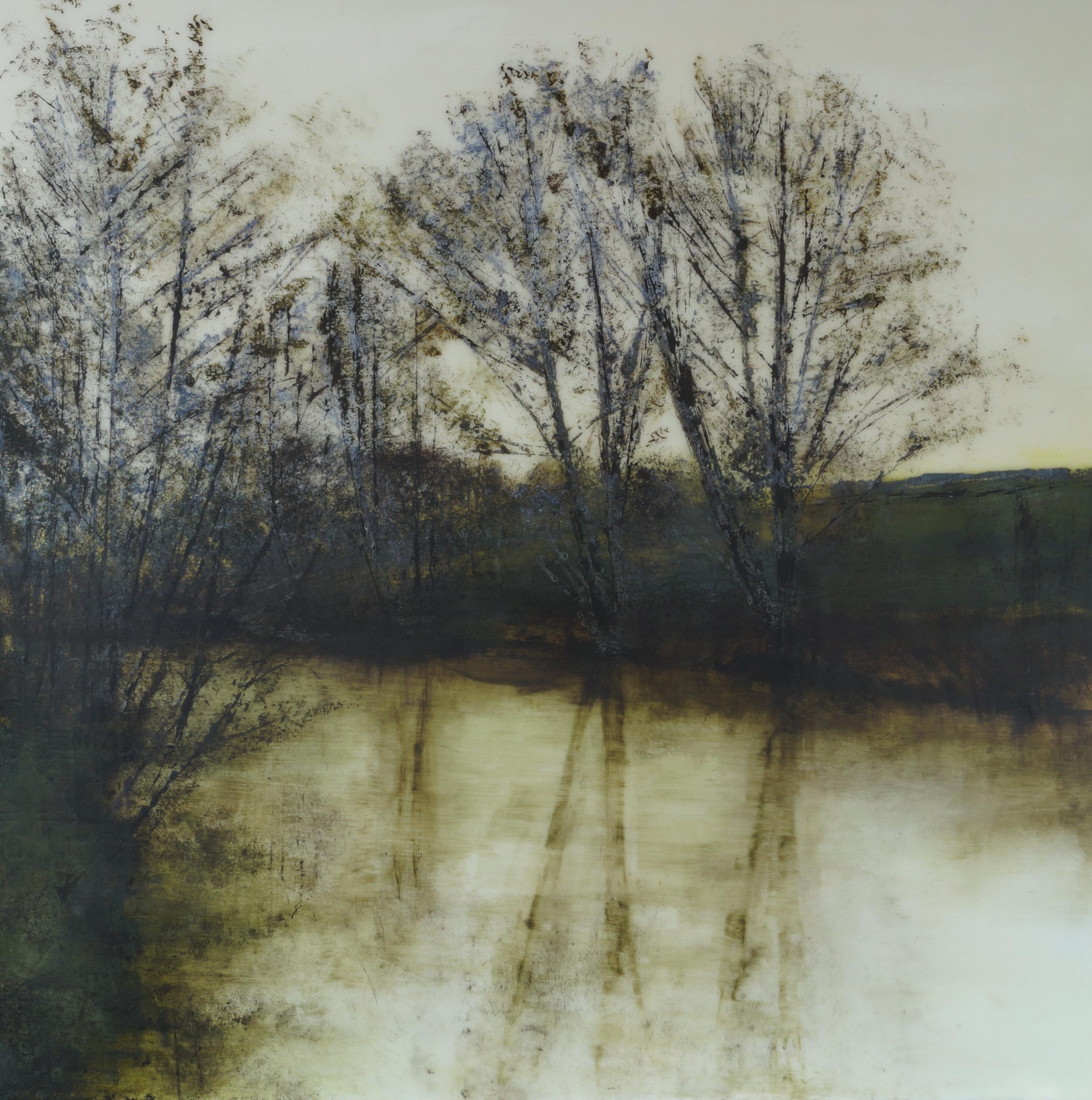 Title: Rain Reflections ize: 60 x 60 cm Medium:Acrylic and epoxy resin on canvas