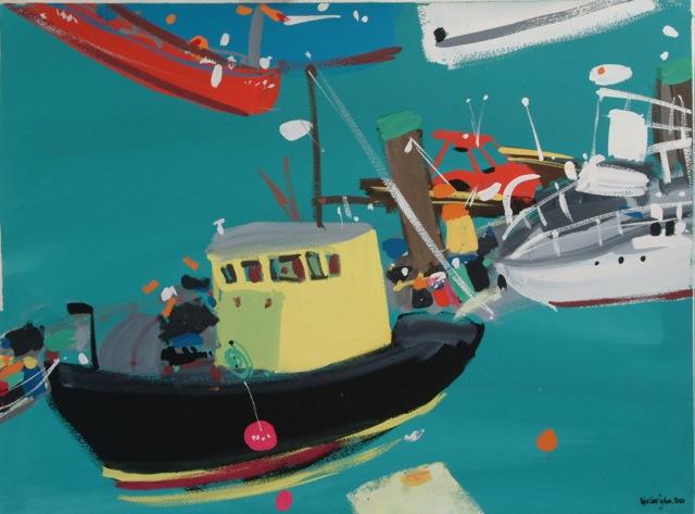 Title: Yellow Boat, Brighton Marina Size: 91 x 74 cm Medium: Gouache on paper