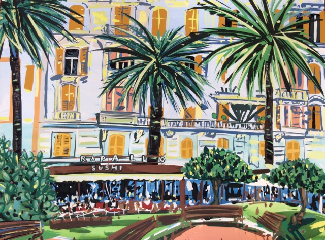 Title: Rapallo, Italy Size: 76 x 71 cm Medium: Gouache on paper