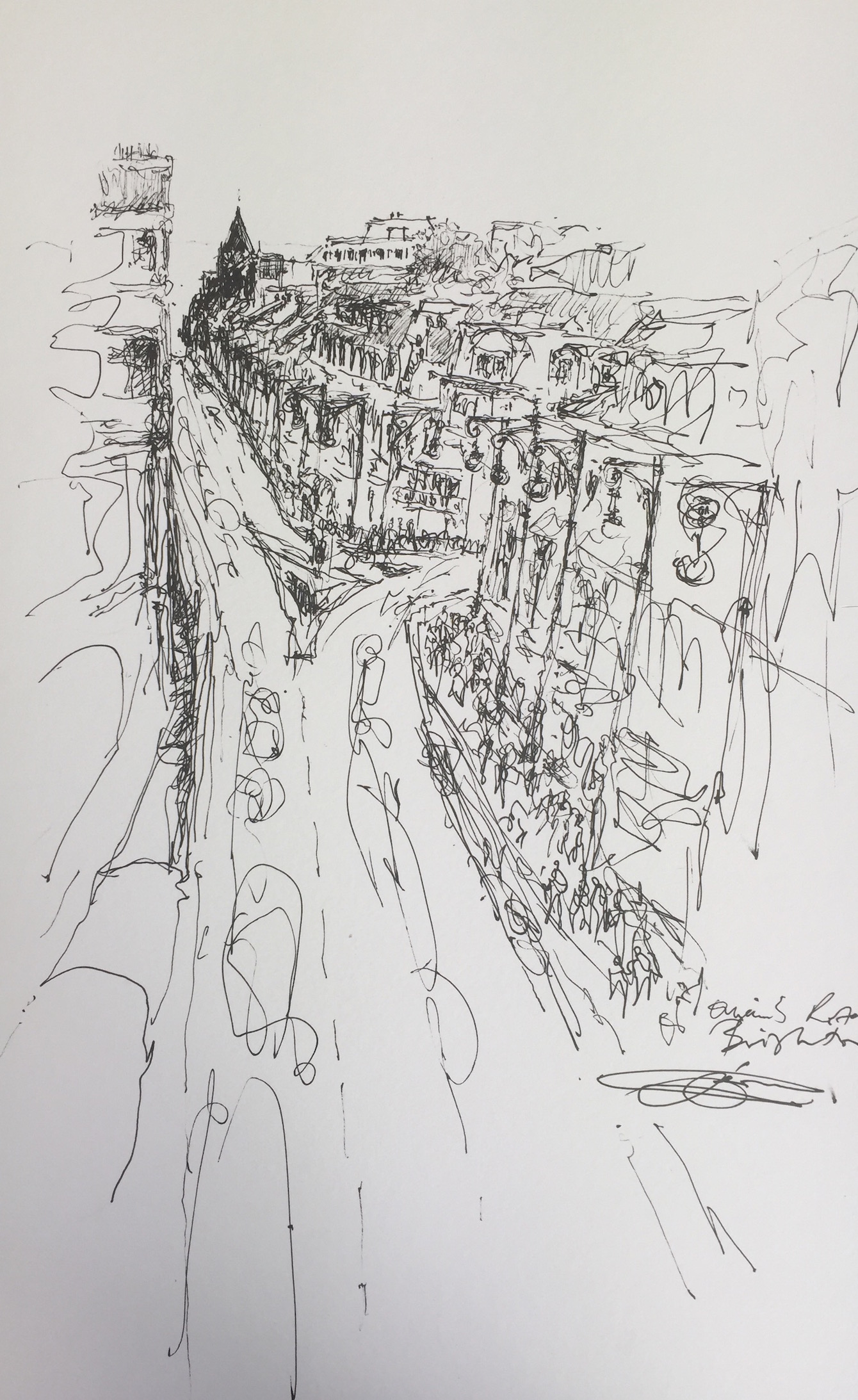 Artist: Solange Leon Iriarte  Title: Queens Road, Brighton  Medium: Pencil & inkpen  Size: 40 x 24.5 cm  Price: £1100