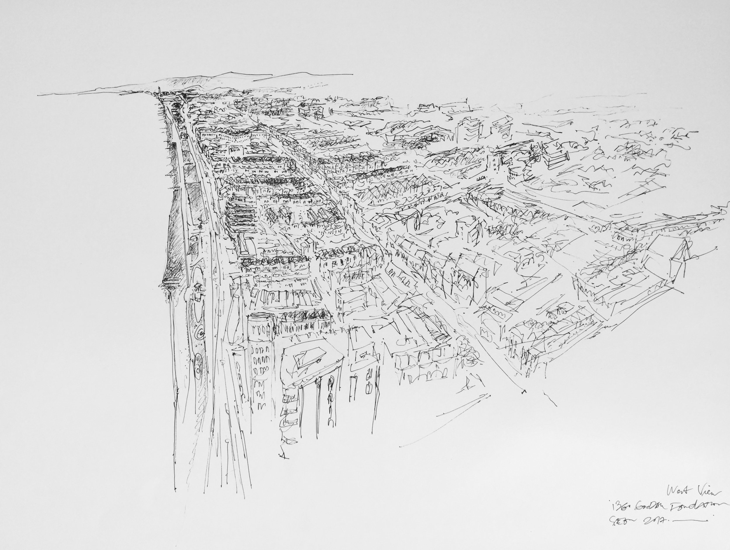 Artist: Solange Leon Iriarte  Title: i360 and West Hove Seascape  Medium: Pencil and inkpen  Size: 66 x 90 cm  Price: £5500