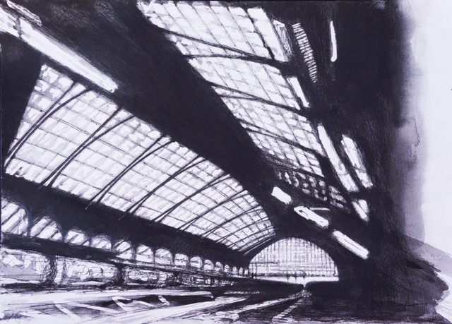 Artist: Solange Leon Iriarte  Title: Track III Enroute - Brighton Station  Medium: Ink and pencil on watercolour paper  Size: 32 x 40 cm  Price: £1100