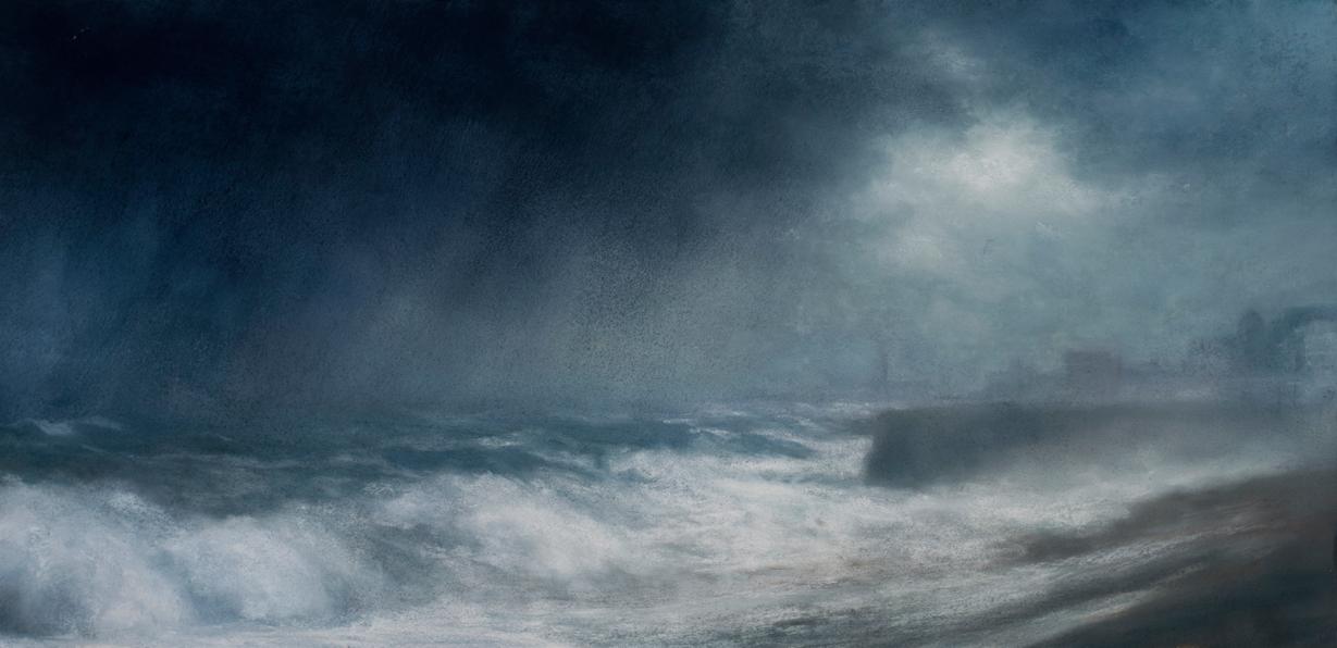 Artist: Matthew Draper  Title: Downpour  Size: 42 x 89 cm  Medium: Pastel on paper  Price: £3250