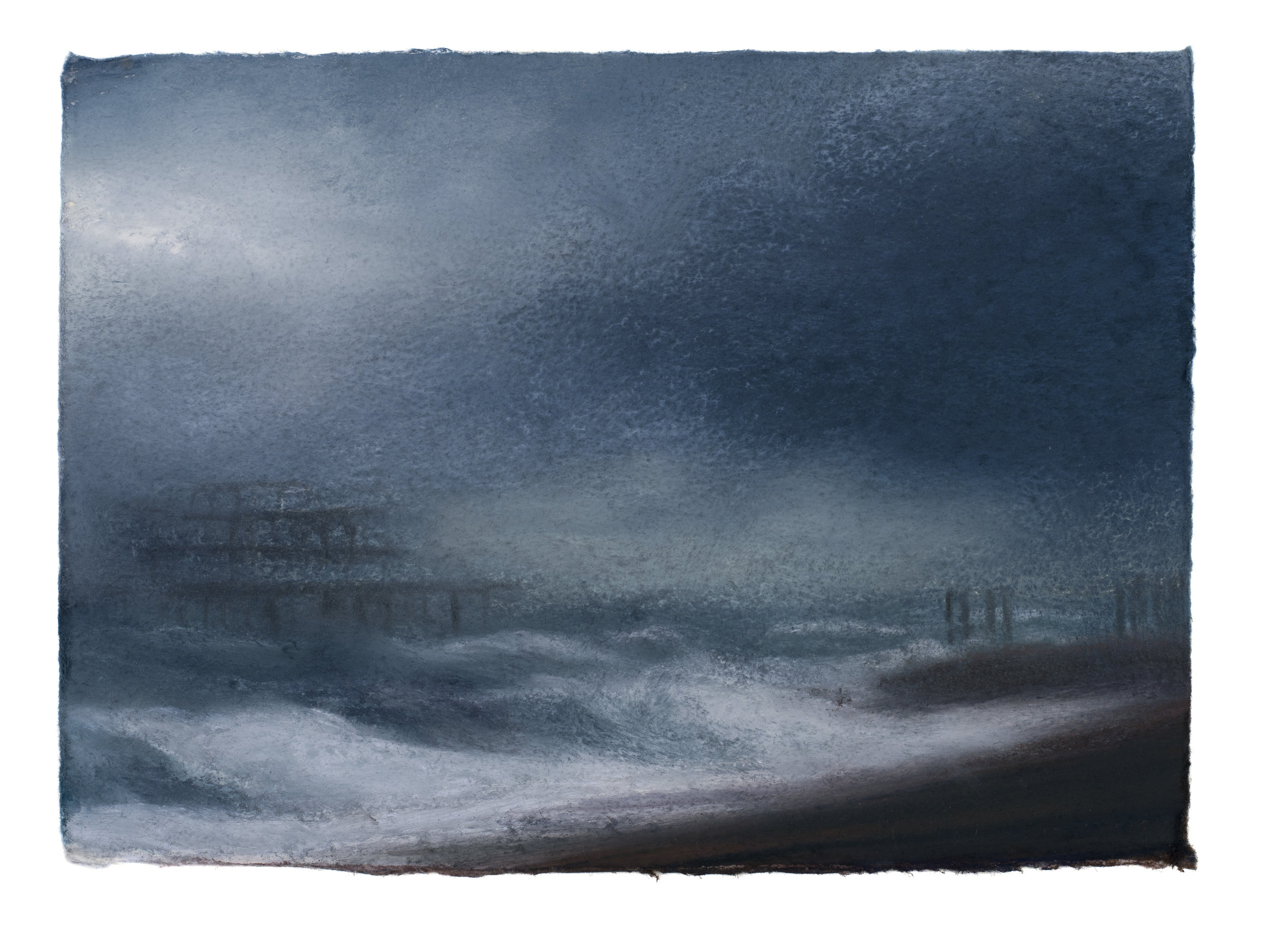 Artist: Matthew Draper  Title: Two Piers, A Study of Brighton Seafront  Size: 15 x 21 cm  Medium: Pastel on paper  Price: £525