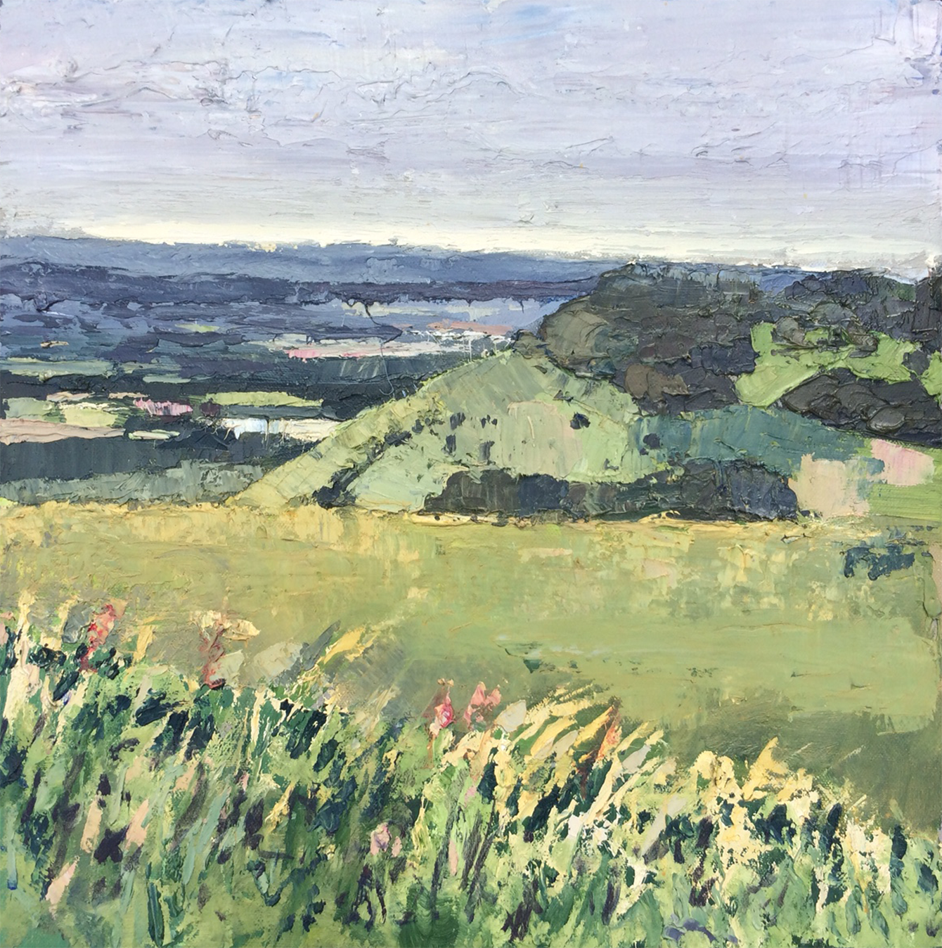 Artist: Andrew Roberts  Title: Devils Dyke Looking North West  Size: 40 x 40 cm  Medium: Oil on canvas  Price: £1600