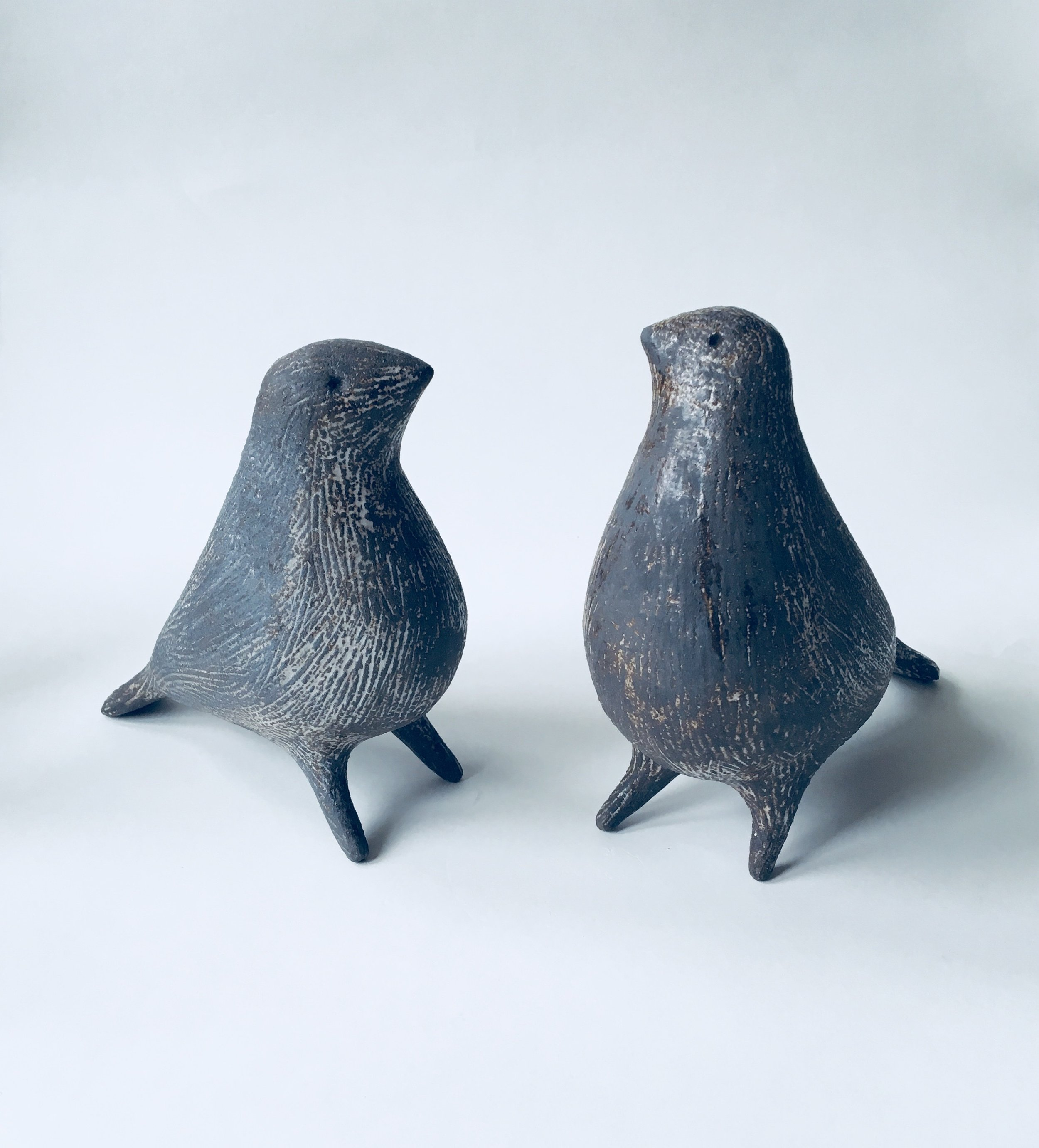 Artist: Julie Nelson  Title: Small Ponti Birds - Speckle 2 and Speckle 1  Size: H 15cm x W 8cm x L 15cm  Medium: Ceramic  Price: £175 each