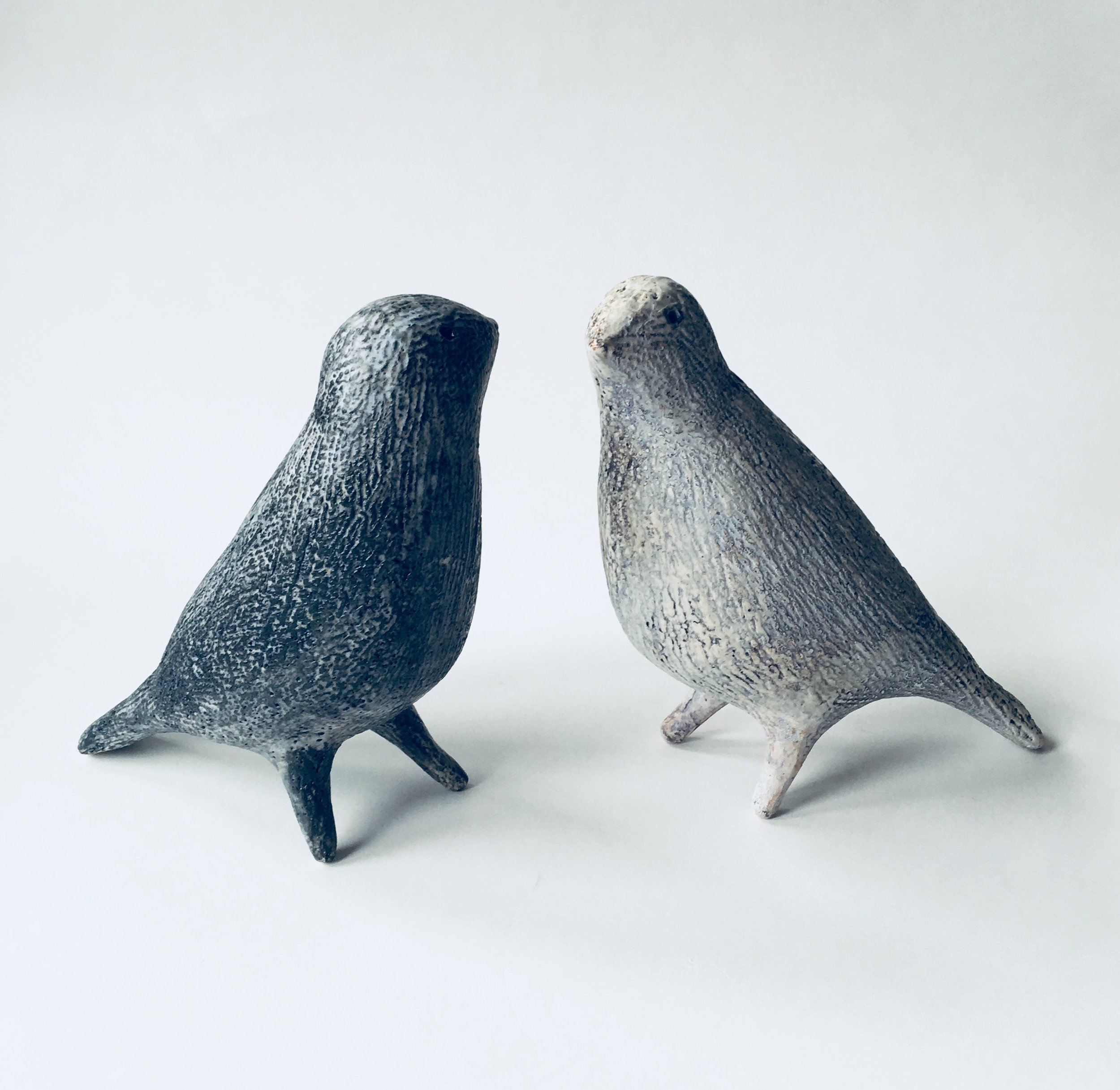 Artist: Julie Nelson  Title: Small Ponti Birds - Slate and Snow  Size: H 15cm x W 6cm x L 13cm  Medium: Ceramic  Price: £175 each