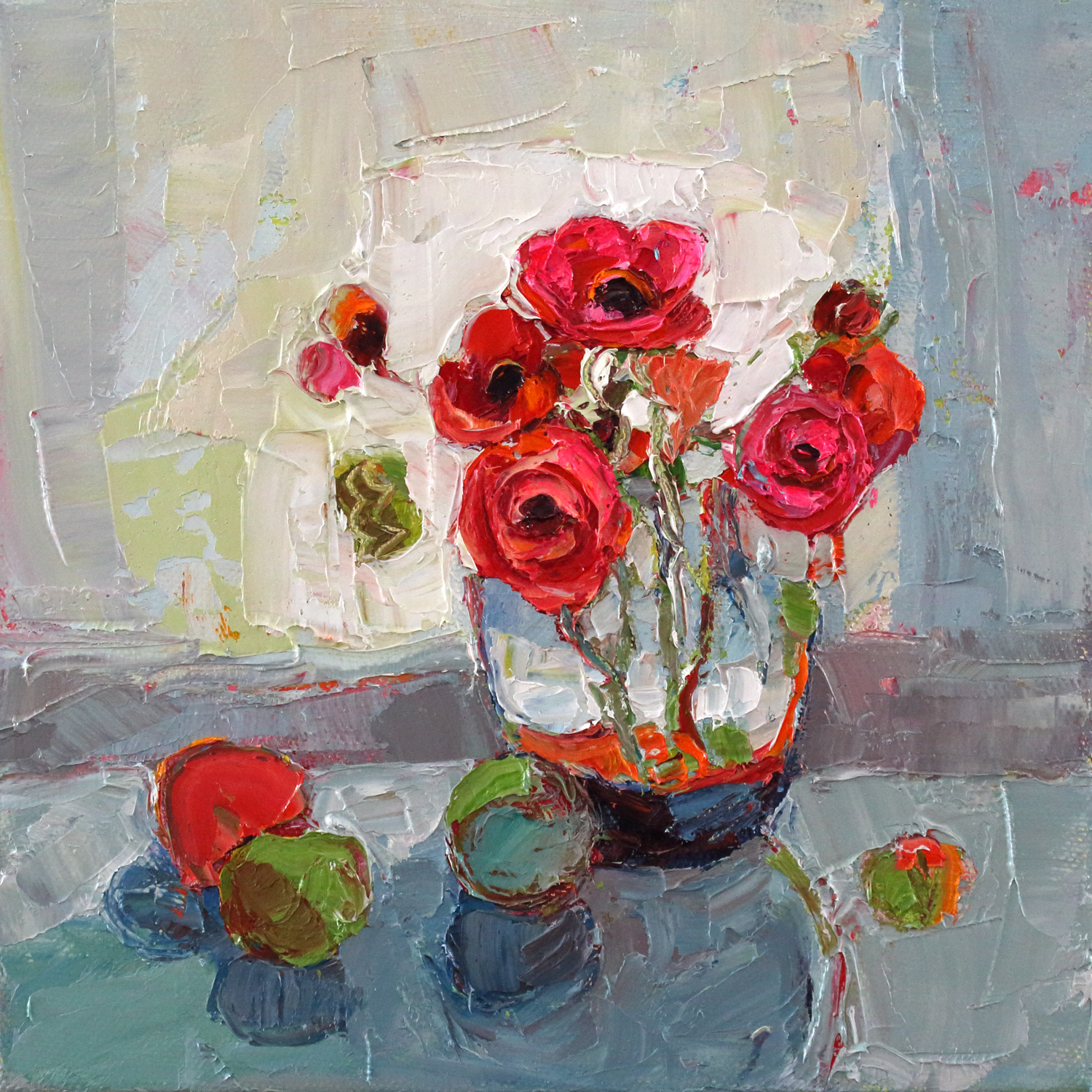 Artist: Kirsty Wither  Title: Rosy Tumbler  Size: 20 x 20 cm  Medium: Oil on canvas  Price: SOLD