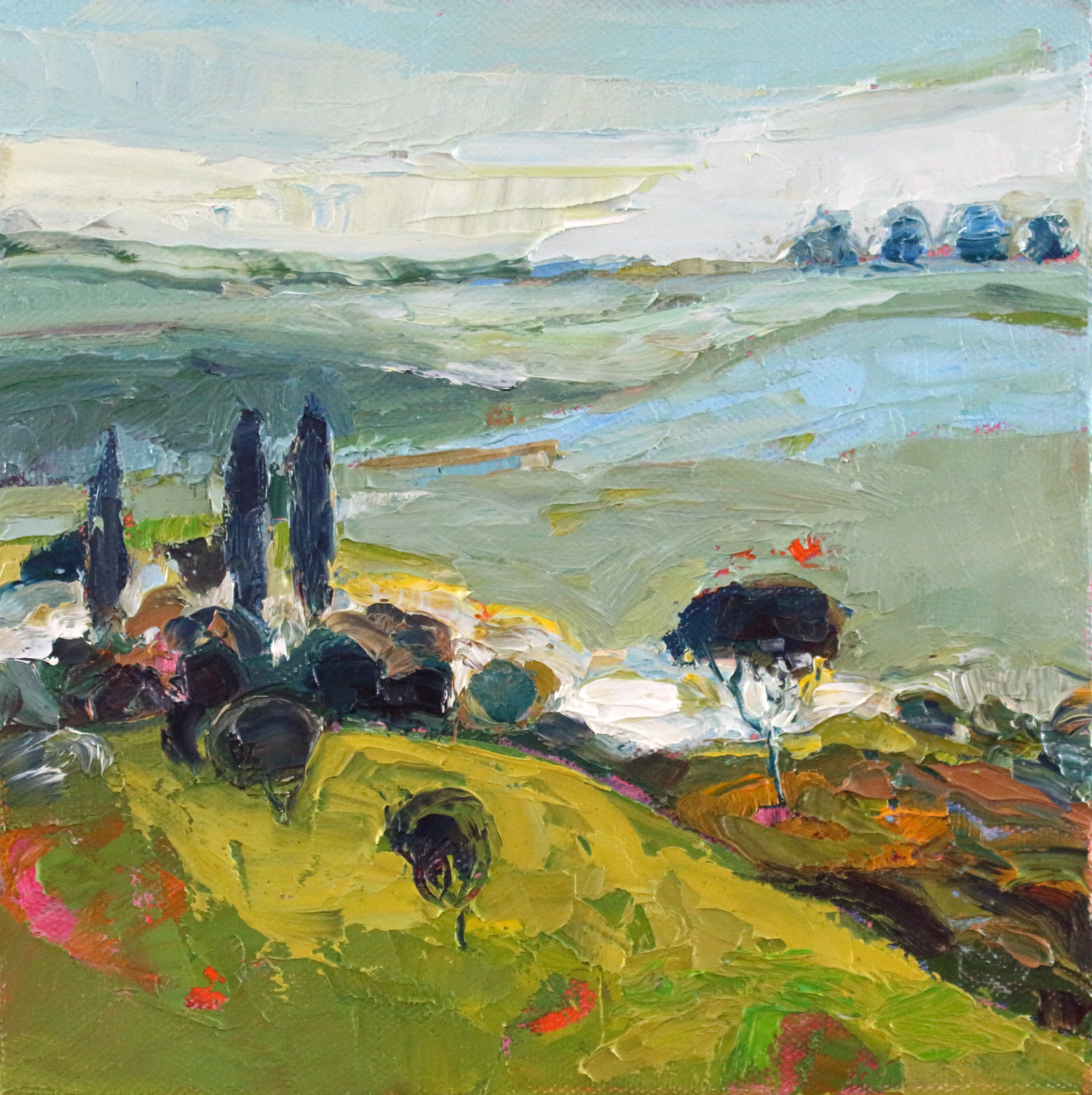 Artist: Kirsty Wither  Title: Layers of Fields  Size: 20 x 20 cm  Medium: Oil on canvas  Price: SOLD