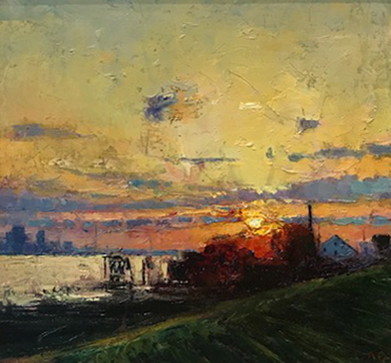 Artist: Andrew Gifford  Title: New Orleans From The Levee, Sunset  Size: 26 x 26.5 cm  Medium: Oil on panel  Price: £6800