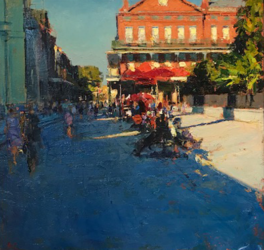 Artist: Andrew Gifford  Title: Jackson Square, New Orleans  Size: 33.5 x 32.5 cm  Medium: Oil on panel  Price: £7100