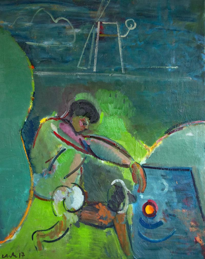 Artist: Luke Hannam  Title: River Boy  Size: 190 x 150 cm  Medium: Oil on canvas  Price: SOLD