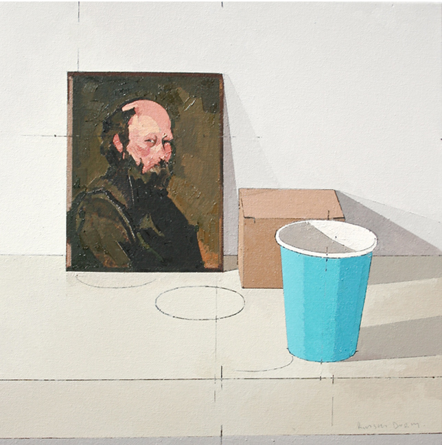 Title: Cezanne and Blue Cup  Size: 40 x 40 cm  Medium: Oil on canvas  Price: £825