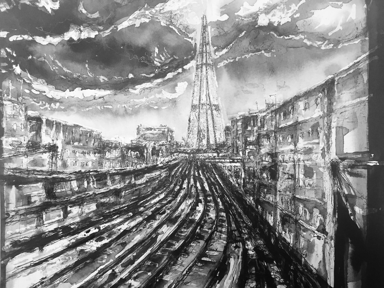 Title: Track V - A Heart of Glass - London Shard Size: 30 x 36 cm Medium: ink and pencil on watercolour paper
