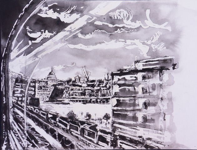 Title: Track I 'London Calling' Size: 32 x 36 cm Medium: Ink and pencil on watercolour paper