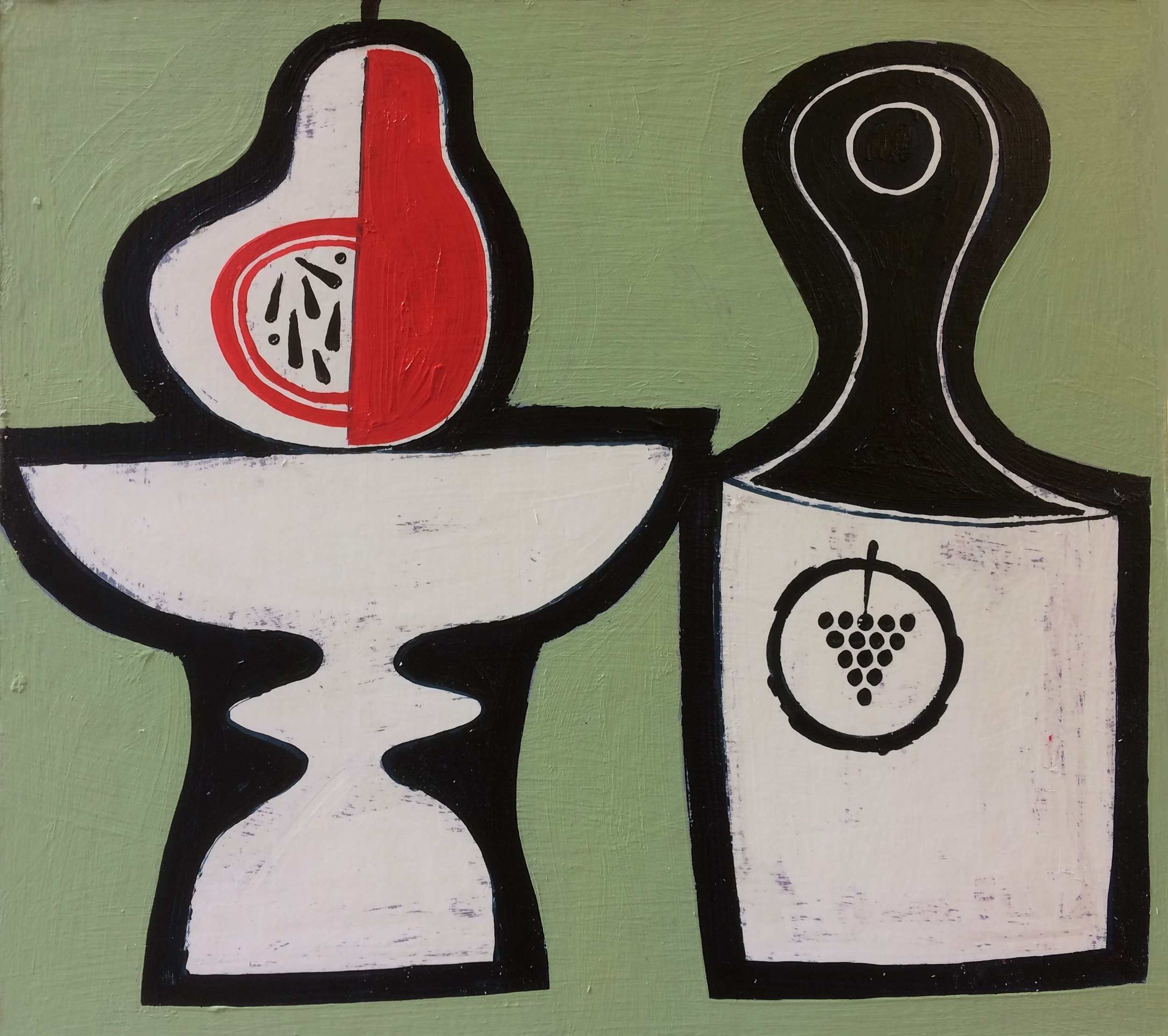 Title: Red Pear and Bottle Size: 23 x 25 cm Medium: Acrylic on board