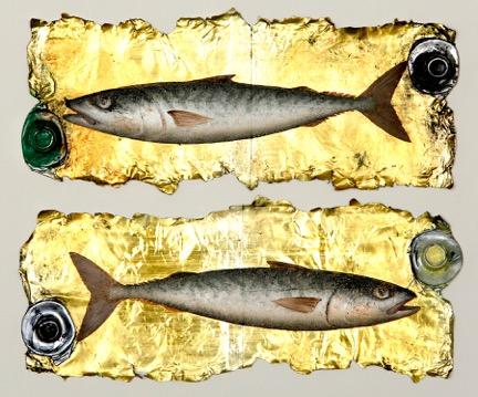 Title: Double Mackerel Size: 20 x 25 cm Medium: Oil on paint tubes Price: £1500