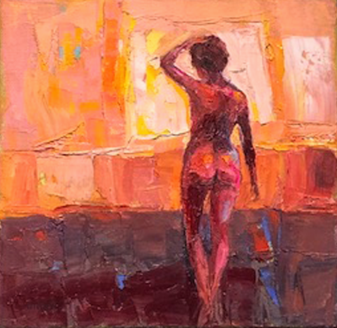 Title: Little Red Nude Size: 20 x 20 cm Medium: Oil on canvas SOLD