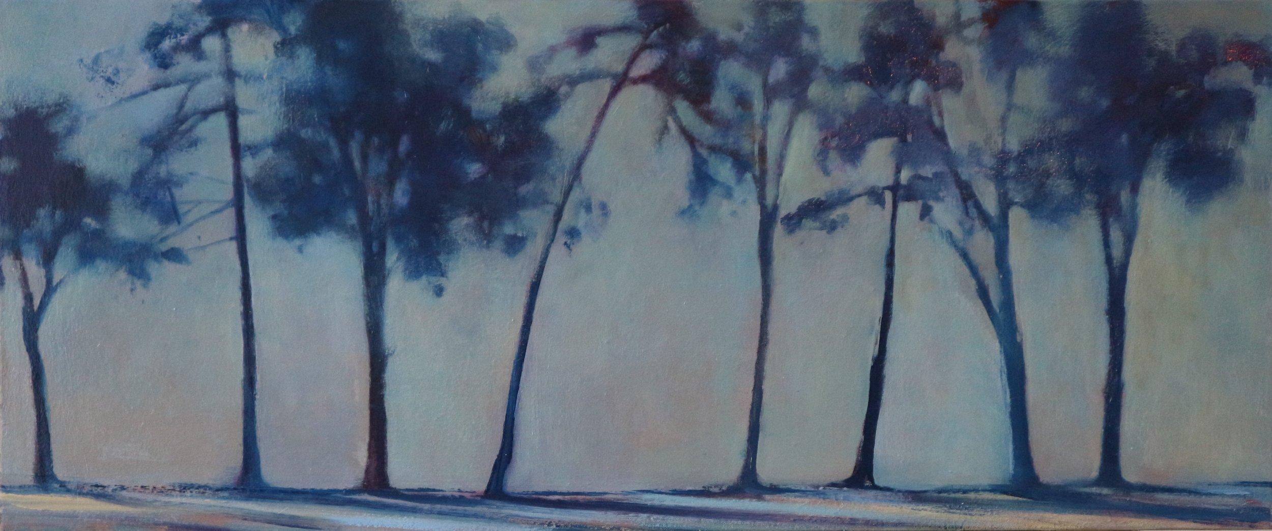 Title: Distant Treeline (I)  Size: 50 x 100 cm  Medium: Oil on canvas  Price: £1550