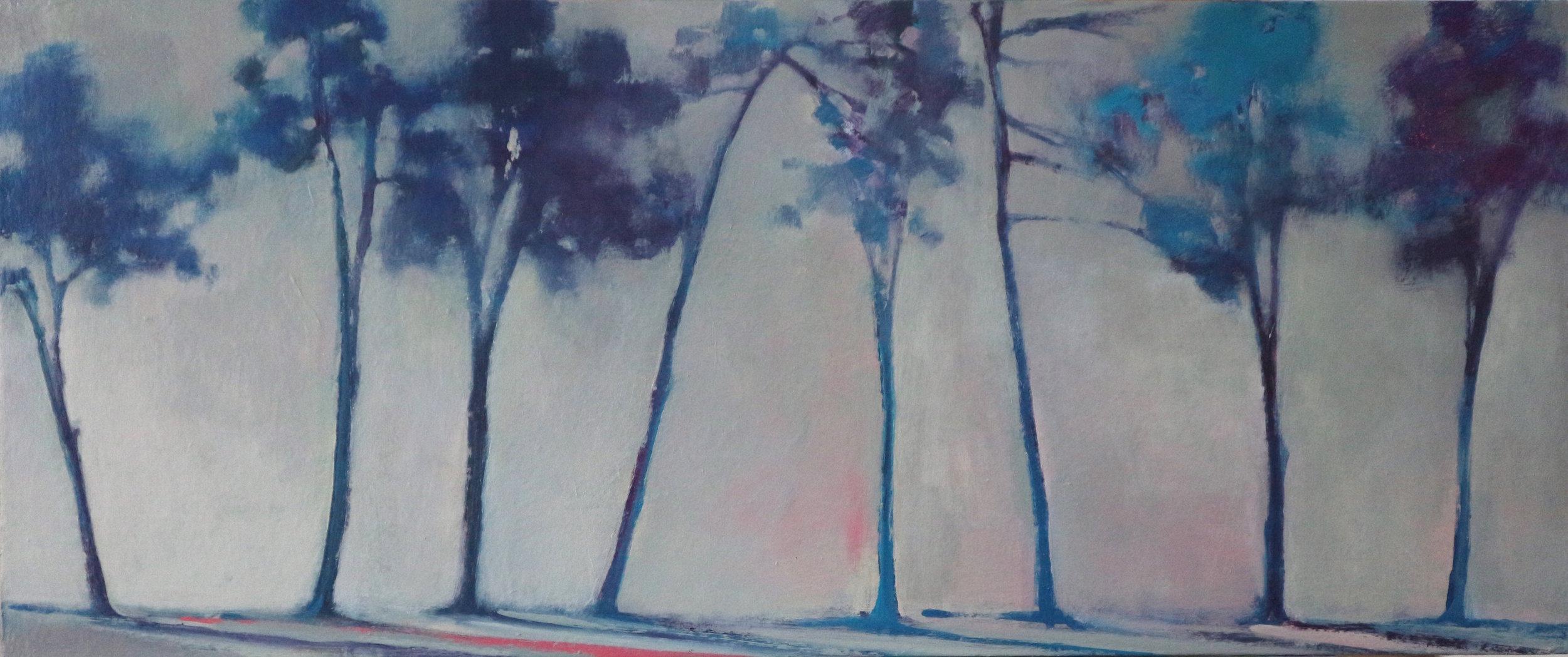 Title: Distant Treeline (II)  Size: 50 x 100 cm  Medium: Oil on canvas  Price: £1550