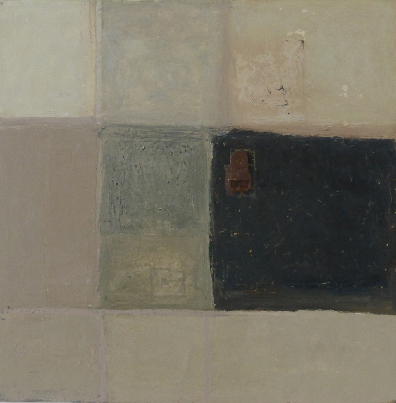 Title: Buckle Size: 61 x 61 cm Medium:Oil, found object,collage on canvas