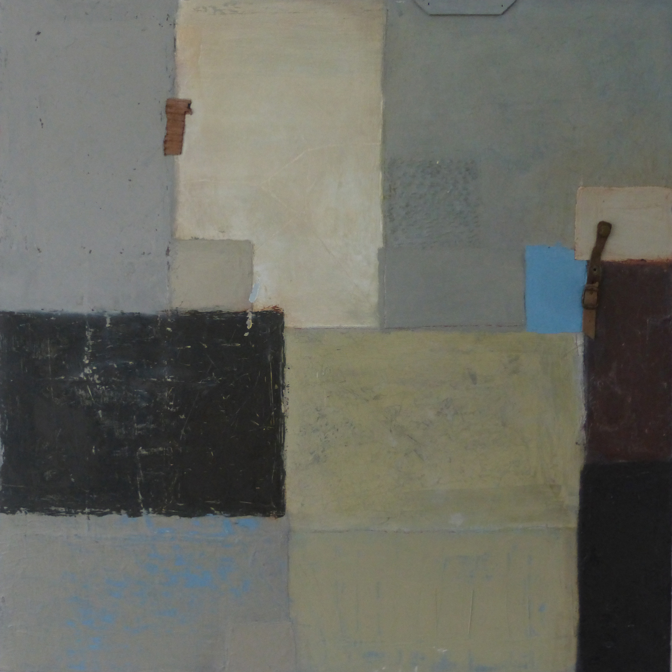 Title: Infinity Size: 76 x 76 cm Medium:Oil, stitch, found objects, collage on canvas
