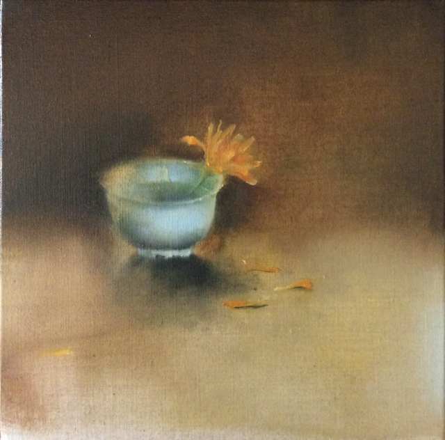 Artist: Linda Felcey  Title: Calendula  Size: 25 x 25 cm  Medium: Oil on linen  Price: £640