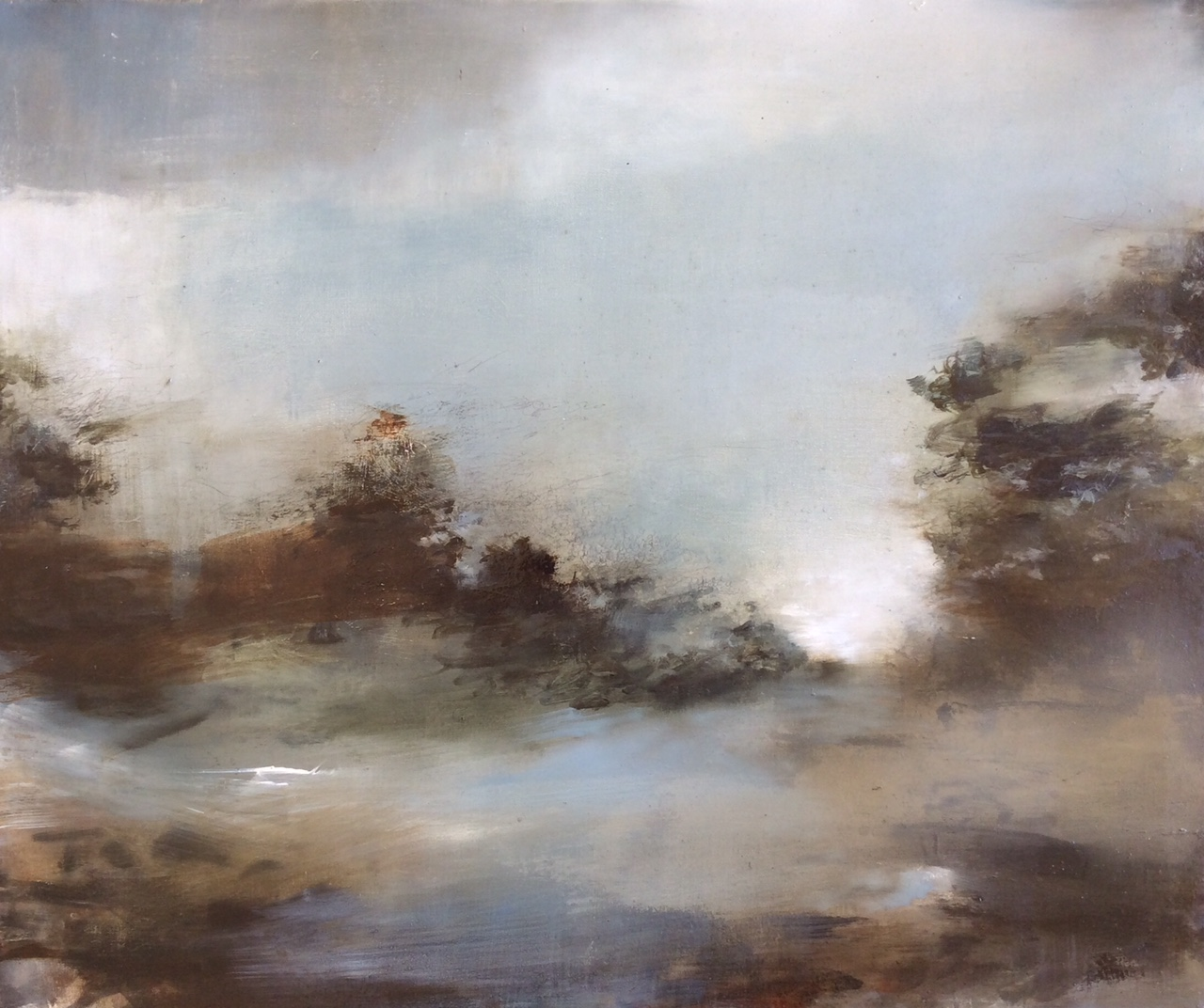 Artist: Linda Felcey  Title: Spring Deluge  Size: 50 x 60 cm  Medium: Oil on linen  Price: £1250