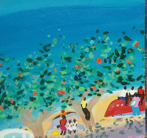 Artist: Pippa Cunningham  Title: Bus stop Tobago  Size: 28 x 28 cm  Medium: Acrylic on canvas  Price: £495