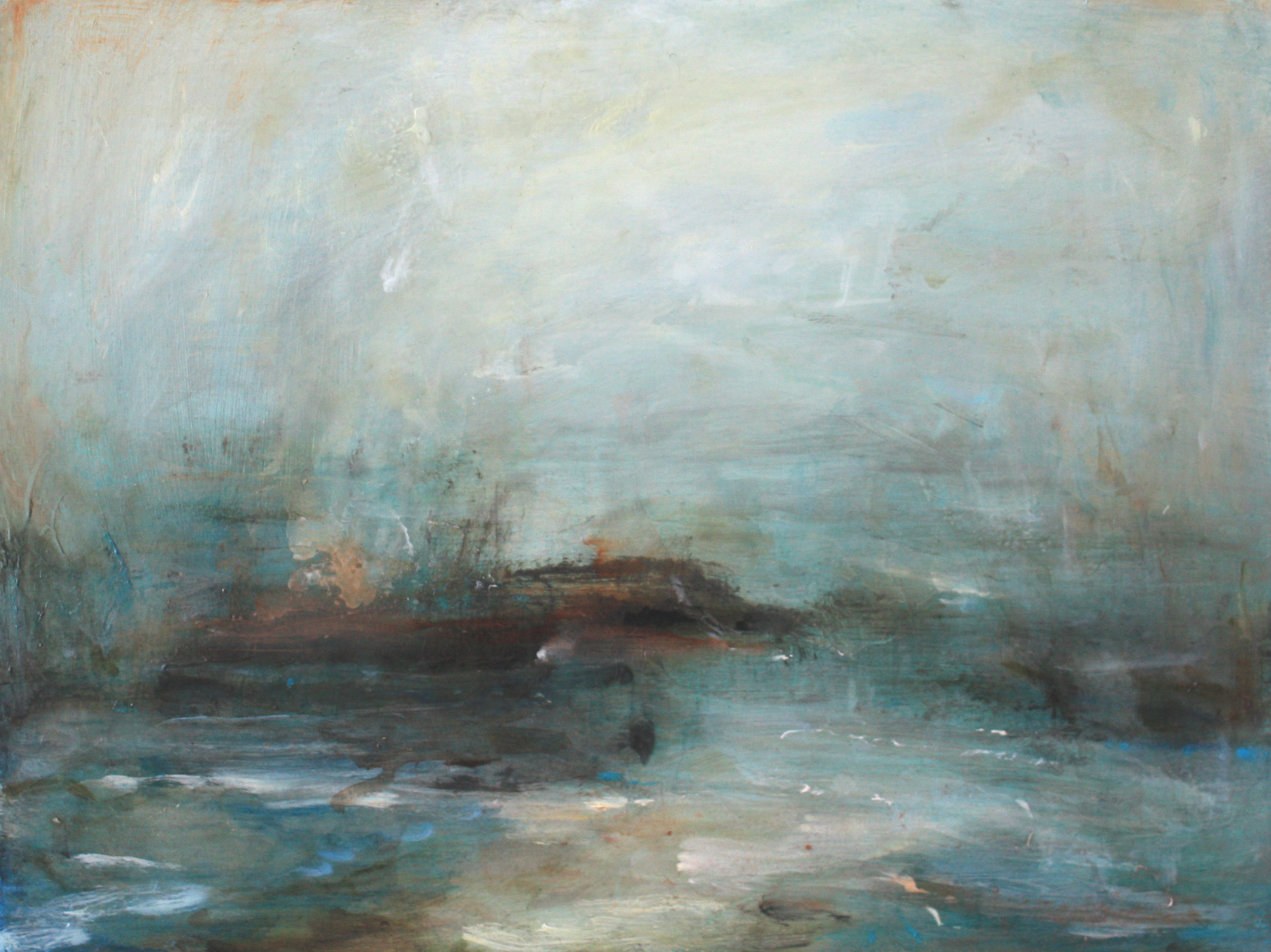 Artist: Mark Johnston  Title: Between Land and Sea  Size: 23 x 31 cm  Medium: Oil on panel  Price: £1700