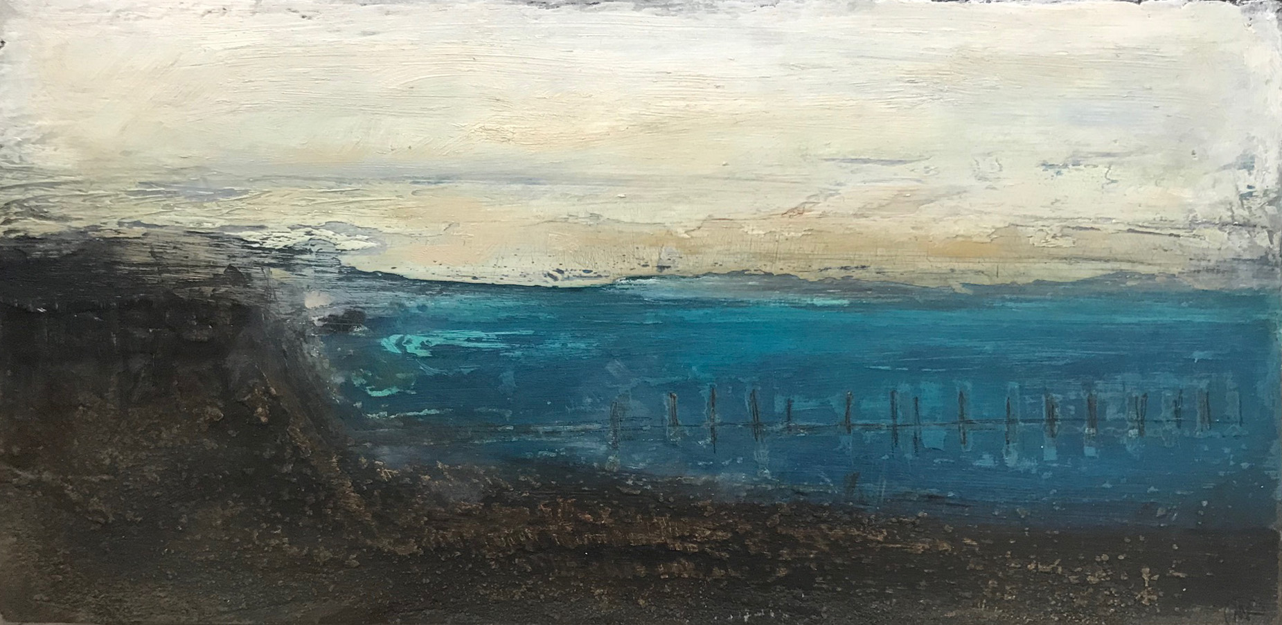 Artist: Maria Kuipers  Title: Evening Light  Size: 17 x 34 cm  Medium: Oil and mixed media on board  Price; £350