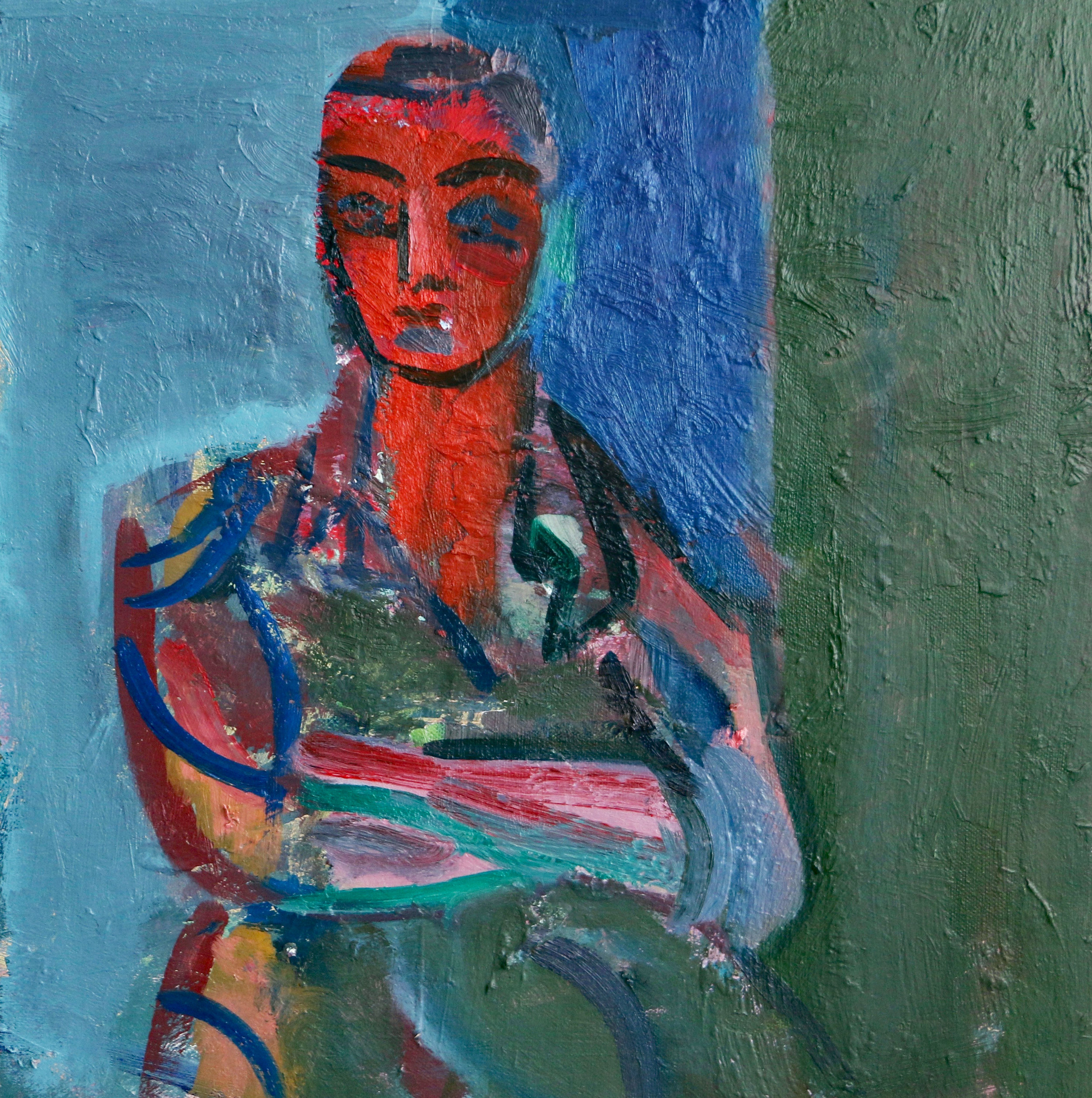 Title: Tess in her Danish Dress II  Size: 40 x 40 cm  Medium: Oil on canvas  Price: SOLD