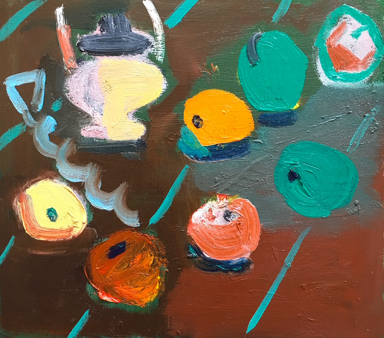 Title: Still Life I  Medium : Oil on board  Size: 30 x 33 cm  Price: £825