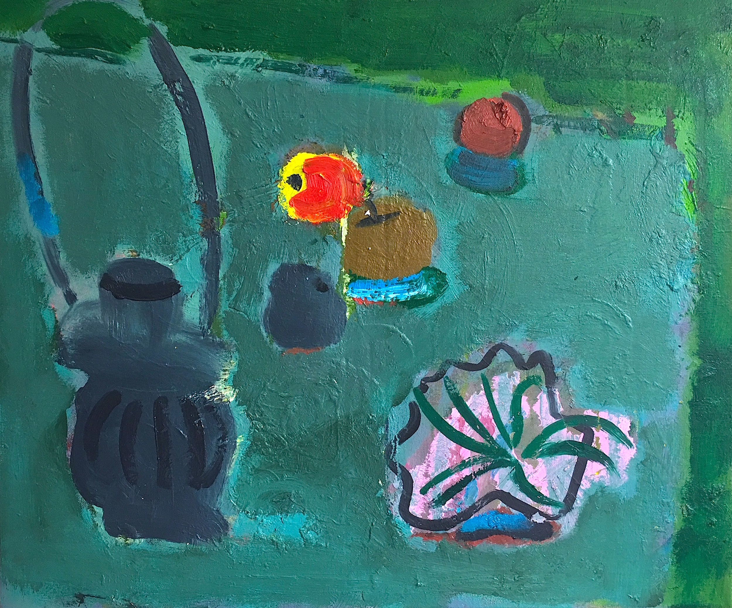 Title: Still Life with Yellow Apple  Size: 56 x 61 cm  Medium: Oil on canvas  Price: £1550
