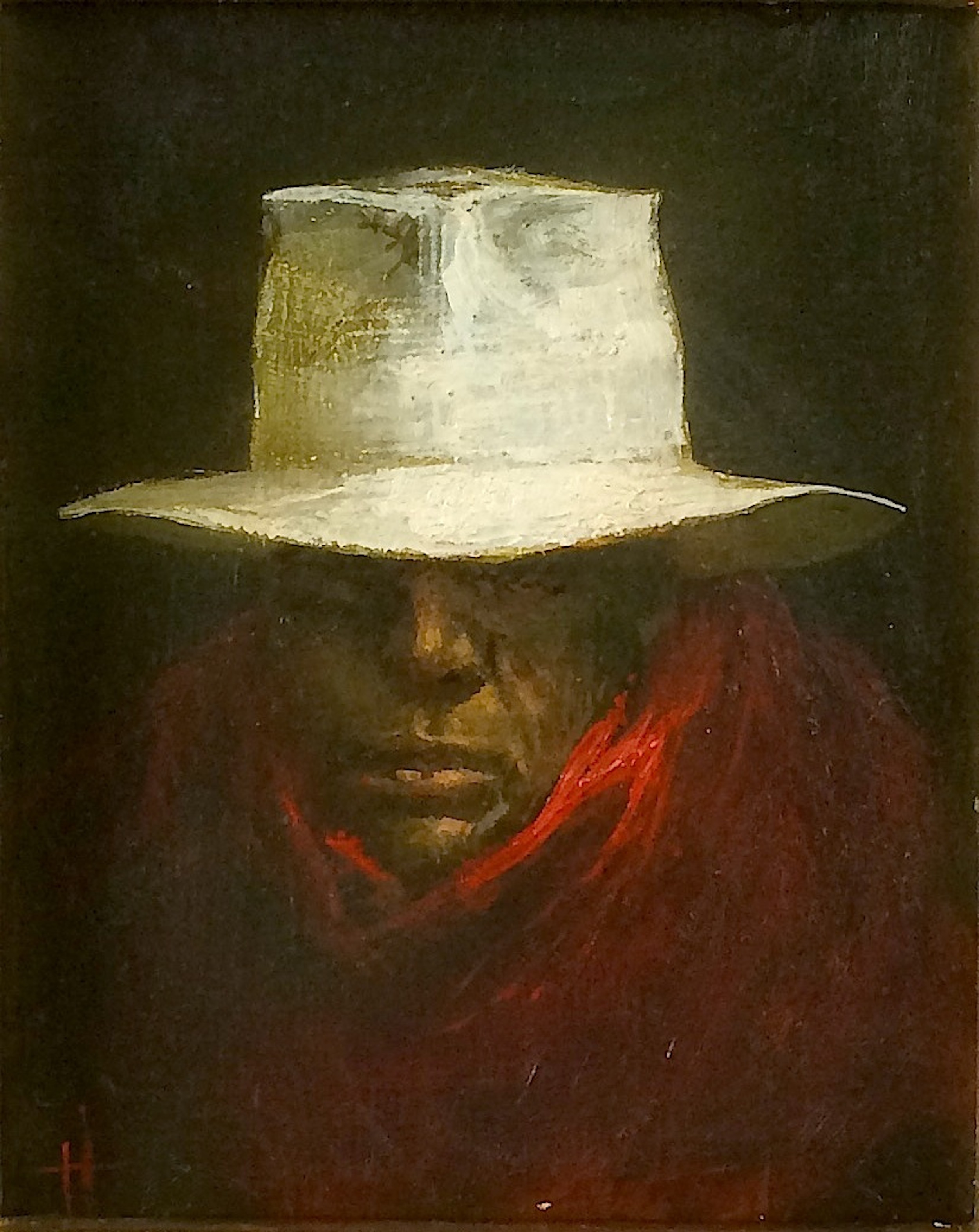 Title: White Hat  Size: 16 x 12.5 cm  Medium: Oil on panel  Price: £1,250