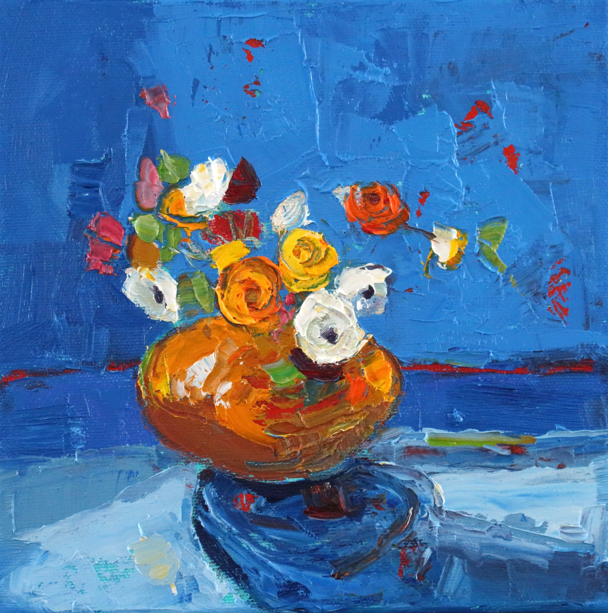 Artist: Kirsty Wither  Title: Copper and Cobalt  Size: 20 x 20 cm  Medium: Oil on Canvas  SOLD