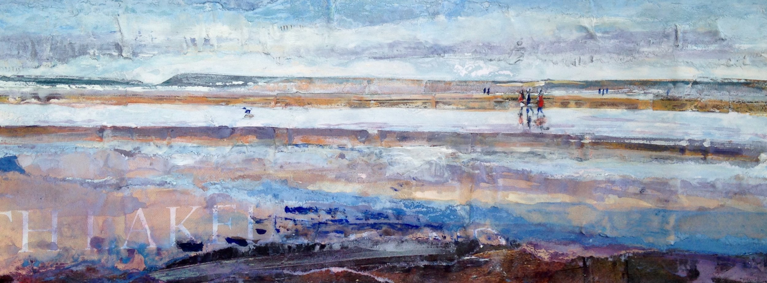 Artist: Viv Richards  Title: Wet Sands, Still Morning  Size: 30 x 43 cm  Medium: Mixed media  Price: £295   Buy Now