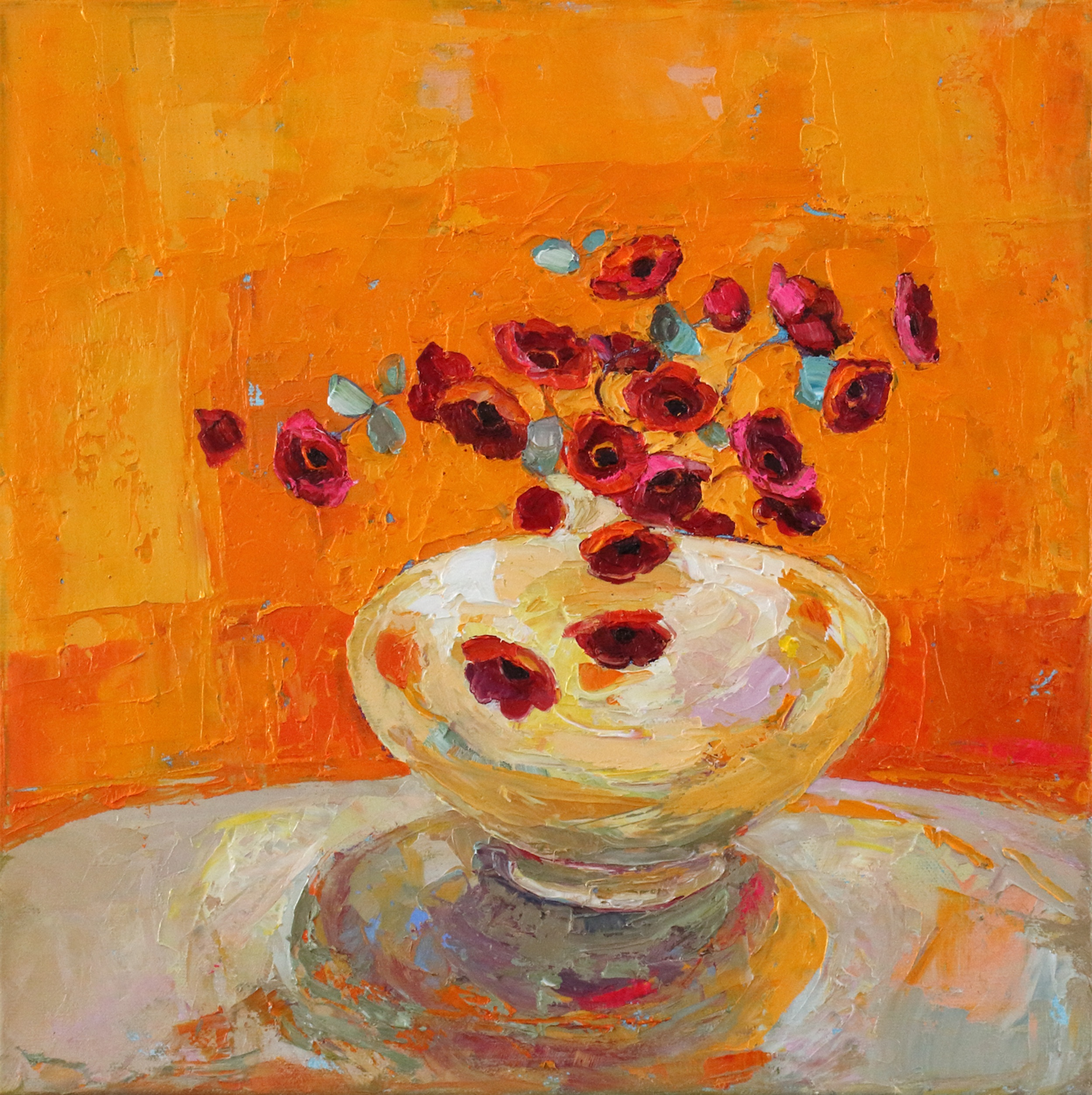 Artist: Kirsty Wither  Title: Hot White Vase  Size: 30 x 30 cm  Medium: Oil on Canvas  Price: £1700