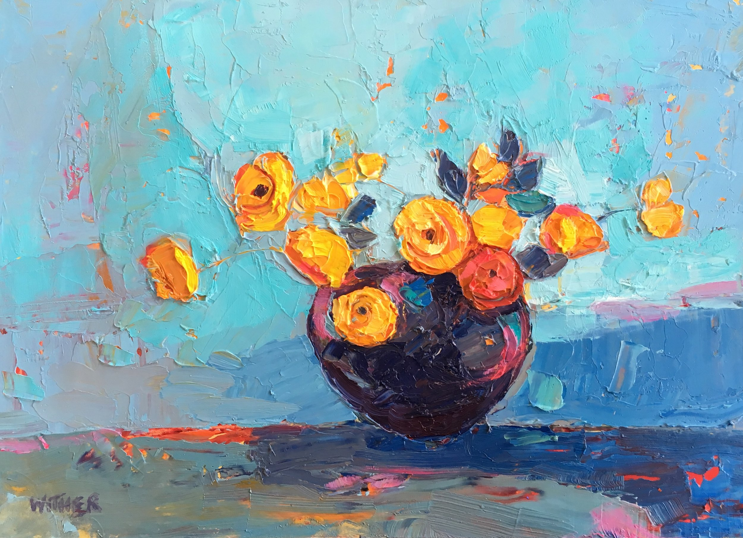 Artist: Kirsty Wither  Title: All in Aqua  Size: 15 x 20 cm  Medium: Oil on board  SOLD