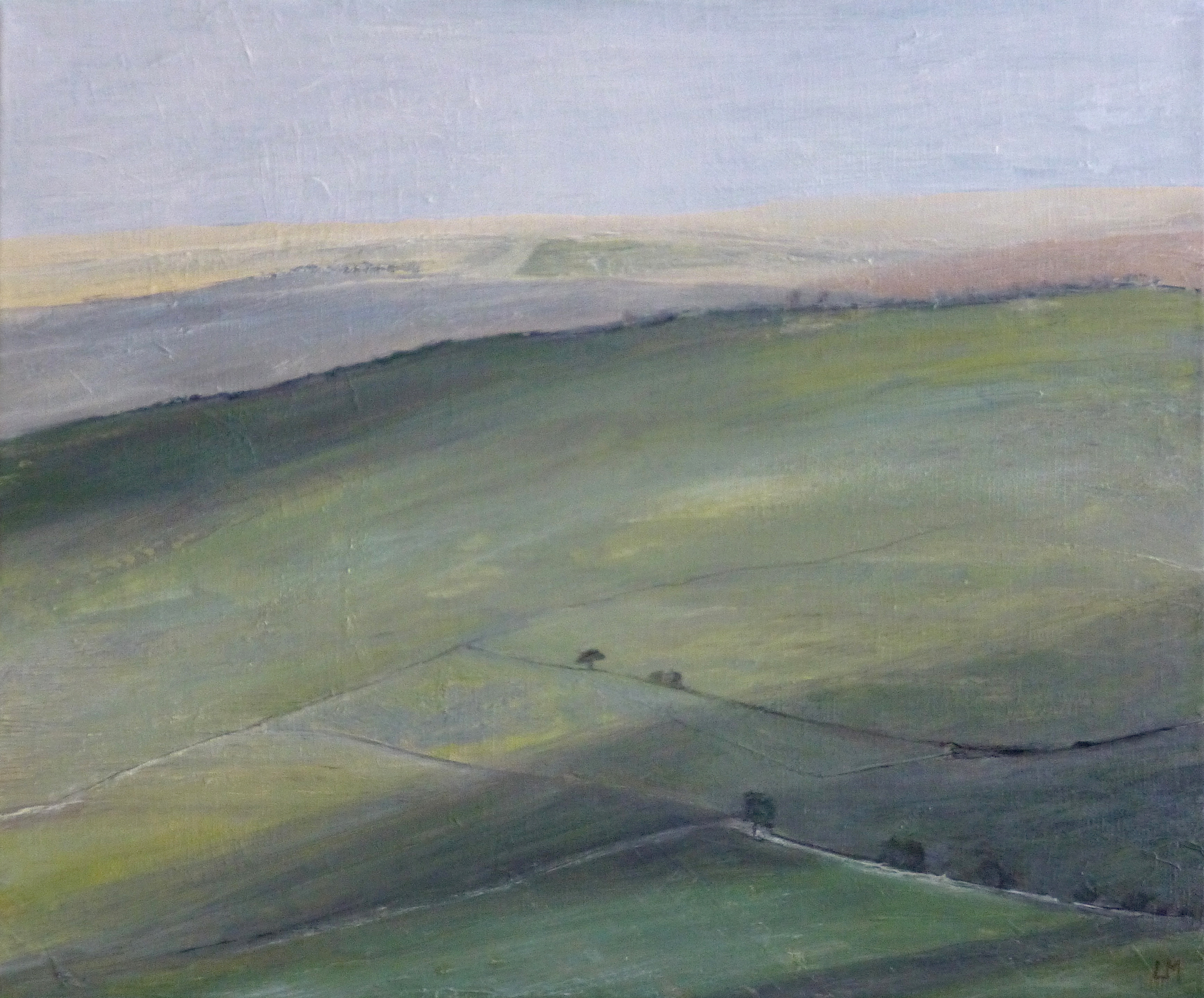 Artist: Luella Martin  Title: Downlands with Cloud Shadows  Size: 38 x 46 cm  Medium: Oil on linen  Price: £950   Buy Now
