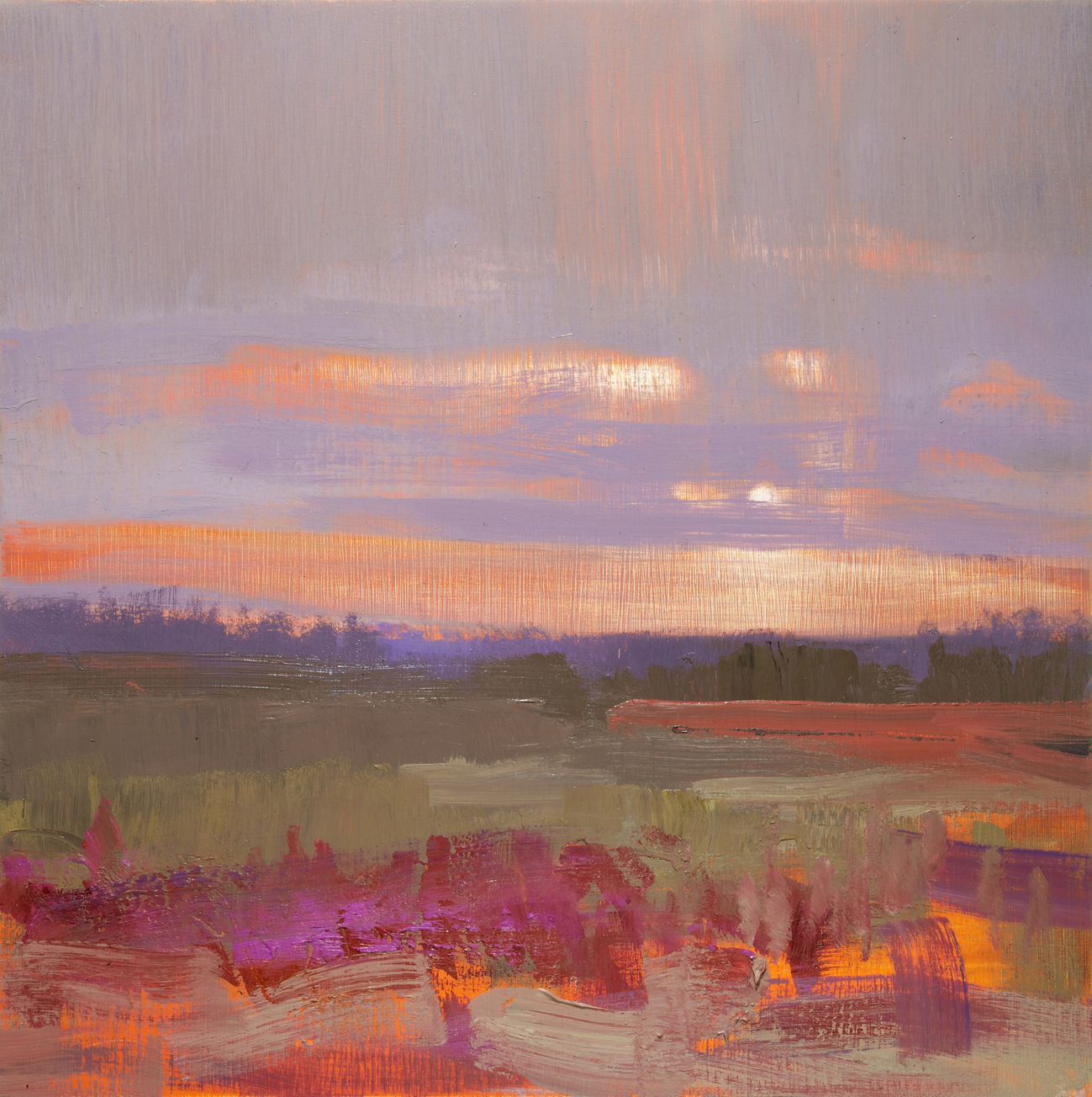 David Scott Moore  Title: Panoramic Landscape, New Forest II  Size: 46 x 46 cm  Medium: Oil on birch panel  Price: £1400   Buy Now