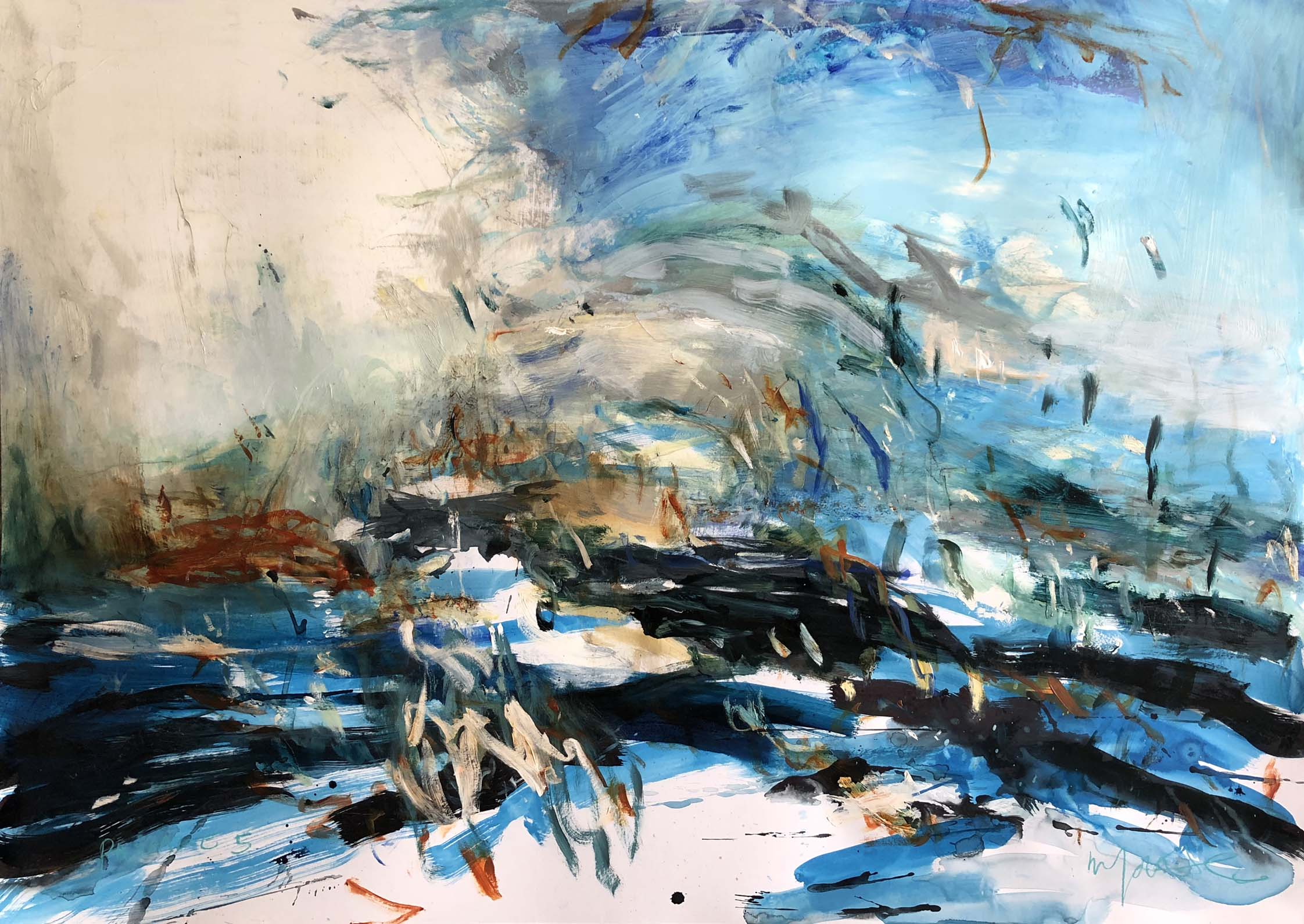 Artist: Mark Johnston  Title: Passage 5  Size: 140 x 100 cm  Medium: Mixed media on paper  Price: £2900   Buy Now