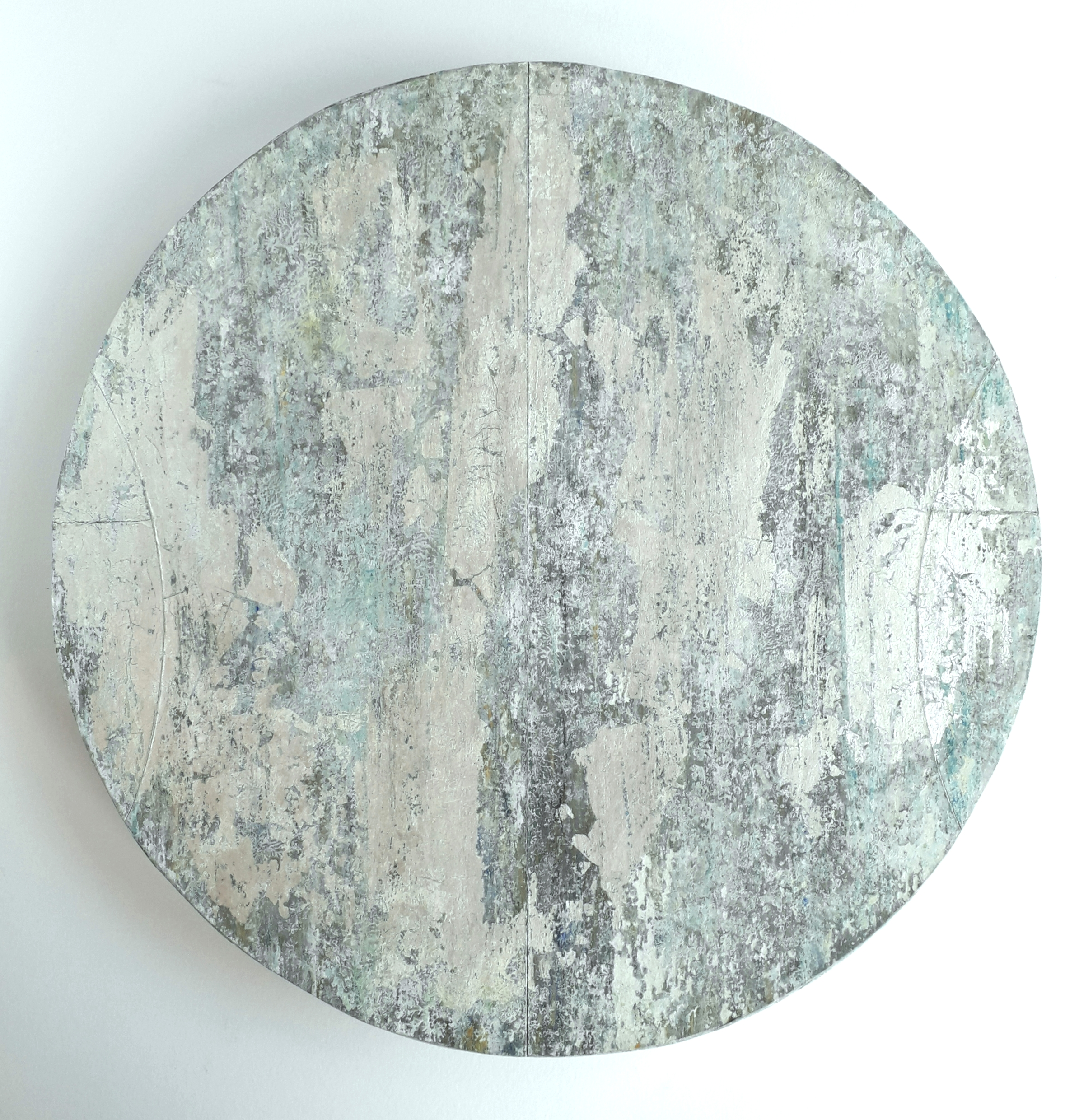Artist: Alan McLeod  Title: Moon Disc  Size: 34 cm dia  Medium: Gouache and silver leaf  Price: £395   Buy Now
