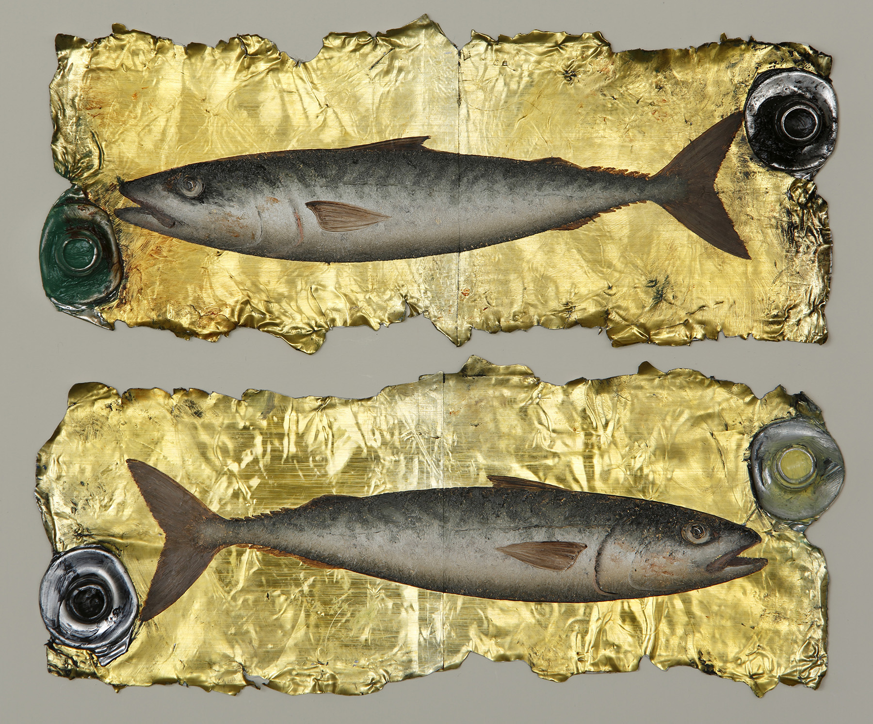 Artist: Donald Provan  Title: Double Mackerel  Size: 34 x 37 cm  Medium: Oil on paint tubes  Price: £1500   Buy Now