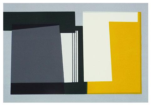 Artist: Hetty Haxworth  Title: Grey Fields and Yellow Flowers  Size: 42cm x 55cm  Medium: screenprint ( edition of 25)  Price: £310 framed price