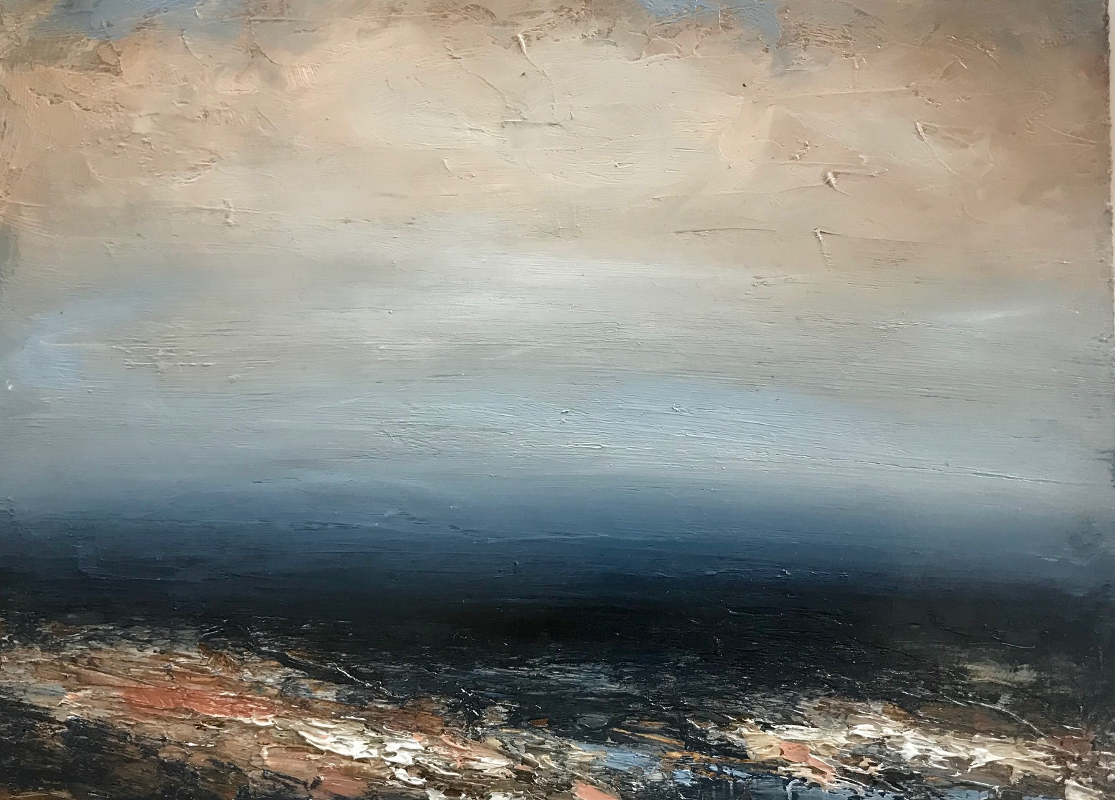 Artist: Hannah Ludnow  Title: Seascape III  Size: 20 x 48cm  Medium: oil on canvas  Price: £360