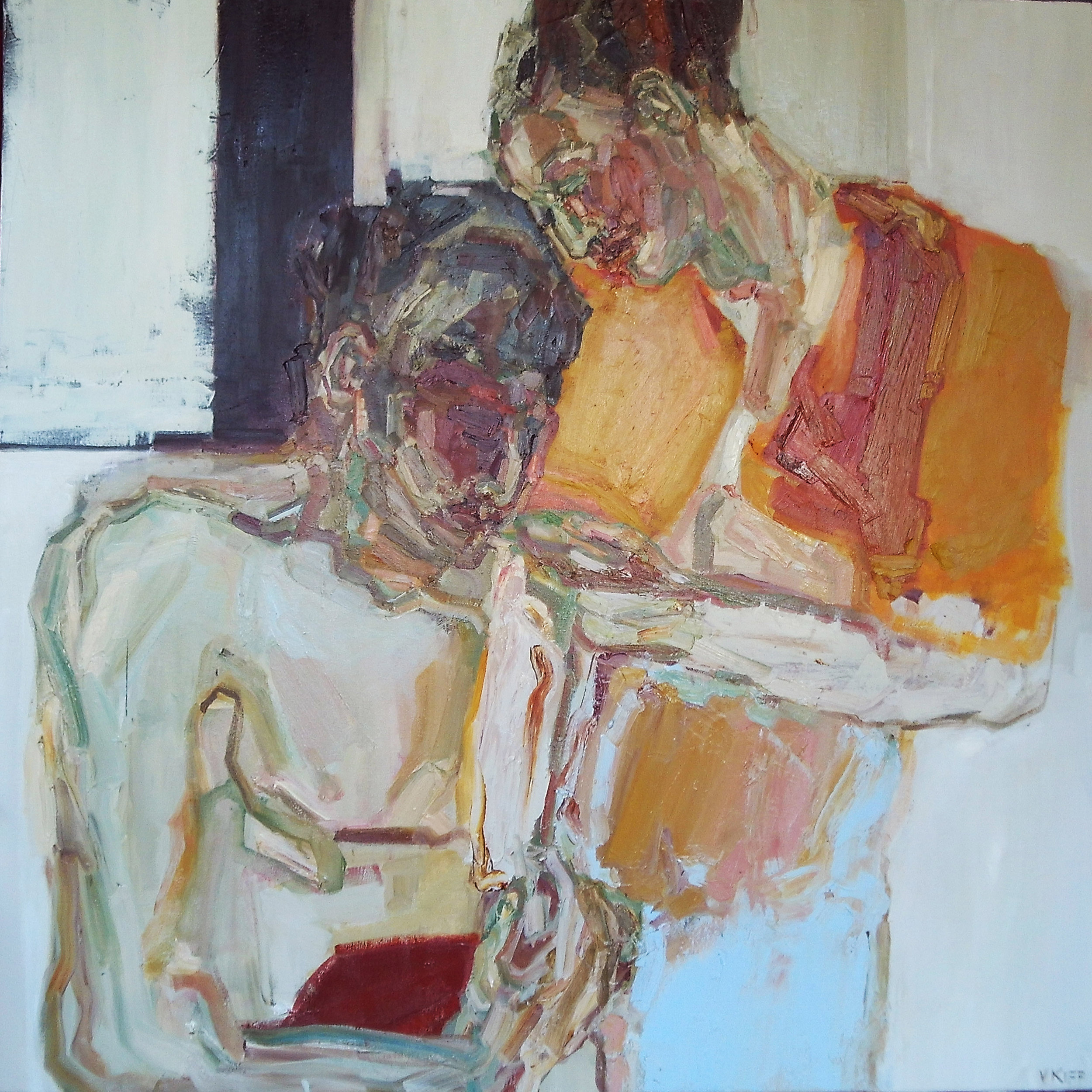 Artist: Victoria Kiff  Title: Internal Monologue  Size: 100 x 100cm  Medium: oil on canvas  SOLD
