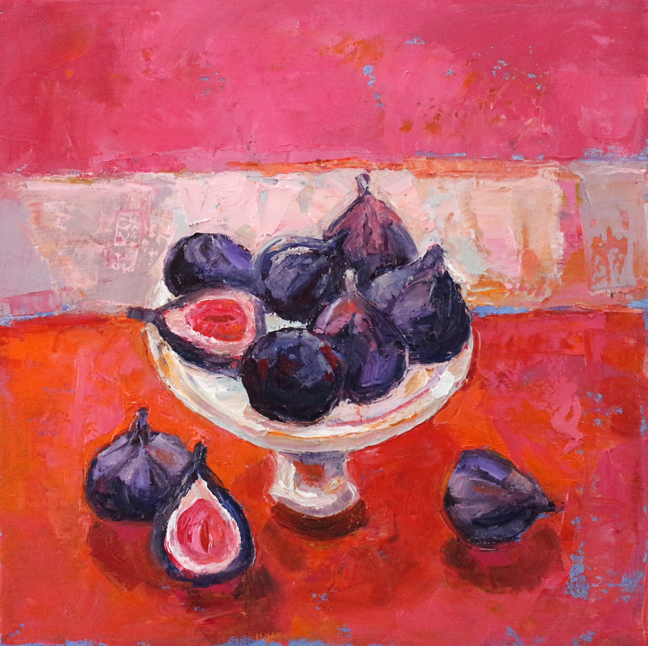 Artist: Kirsty Wither  Title: Nine Lush Figs  Size: 30cm x 30cm  Medium: oil on canvas  Price: £1750