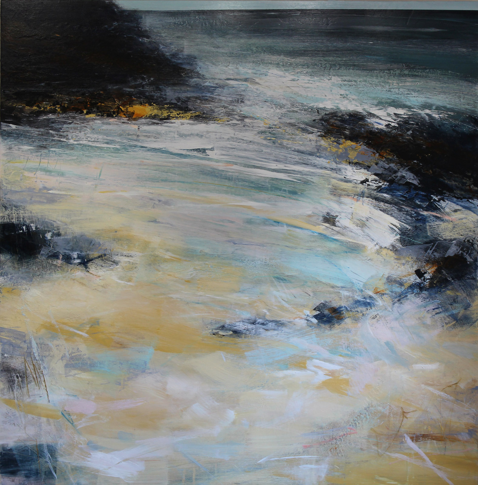 Artist: Alison Orchard  Title: Secret Cove  Size: 100 x 100 cm  Medium: Mixed media on panel  Price: £2500